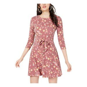 Be Bop Womens Floral Print Jewel Neck Casual Dress